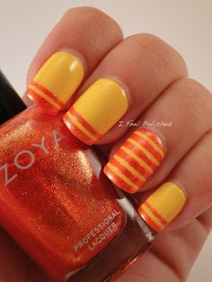 I Feel Polished! Striping Tape Nail Art  #nail #Beauty #Fashion #pmtsogden #paulmitchellschools #cute #nails #nailart #love #manicure #beautiful #cute #stripes #yellow #orange #stripe  http://www.ifeelpolished.com/2013/06/striping-tape-nail-art.html