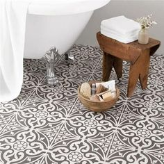 black and white marrocan style bathroom floor tiles - Google Search