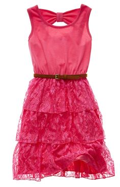 disorderly kids belted tiered dress