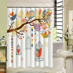 Water Resistant Fabric Shower Curtain Long Design Tree Birds Pattern 3d Print Bathroom Curtain Product Gift for House Warming