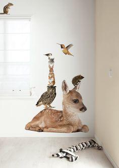 Muursticker dieren hert Forest Friends Set Deer XL.