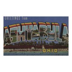 Ashtabula, Ohio - Large Letter Scenes Poster