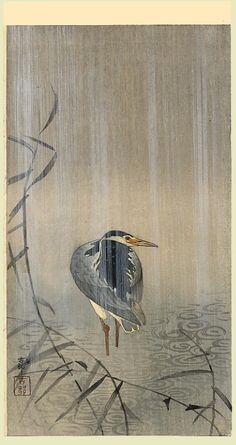 Ohara Koson (小原 古邨, 1877-1945)    Heron in downpour