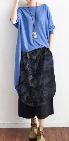 gray black plus size casual cotton pants prints vintage wide leg pants