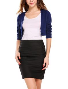 79a2b8a428c8 Soteer Women Shrug Bolero Cardigan Cropped Open Front Solid Long Sleeves  Cover Up: Amazon.co.uk: Clothing