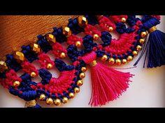 ಸೀರೆ ಕುಚ್ಚು tassels with beads designs tutorial for biginners. Saree Kuchu New Designs, Saree Tassels Designs, Kurti Neck Designs, Fancy Blouse Designs, Crochet Hair Accessories, Crochet Hair Styles, Crochet Stitches Patterns, Crochet Designs, Phulkari Embroidery
