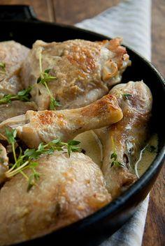 Chicken braised in white wine & cream