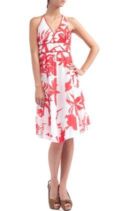 Printed Silk Voile Halter Dress, Red