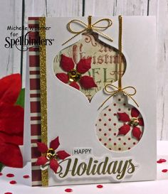 Stop and Stamp the roses~~Love this Christmas ornament card!