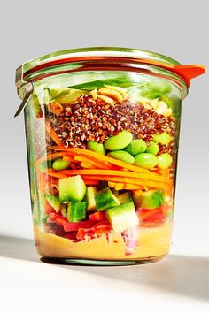 3 Jar Lunches That Aren't Boring Salads #refinery29  http://www.refinery29.com/mason-jar-lunch-recipes#slide-2  Thai Peanut Quinoa JarMakes 4 (16-oz) Mason jarsIngredientsFor the sauce:1/2 cup peanut butter1/2 teaspoon sesame oil1 tablespoon soy sauce1 teaspoon lime juice1 to 2 squirts of Sriracha, to taste2 teaspoons light brown sugar, packed1 garlic clove, minced1/2-inch piece ginger, grated6 tables...