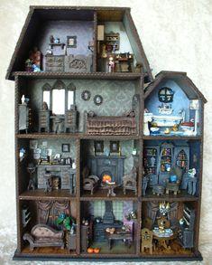 Haunted Dollhouse, Diy Dollhouse, Corpse Bride Doll, Coraline Doll, Brides Room, Decorating Bookshelves, Gothic Furniture, Gothic Dolls, Halloween Doll