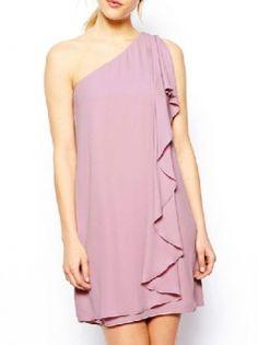 Single Shoulder Butterfly Sleeve Mini Dress Party Dress For Women