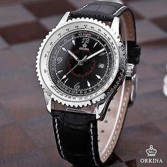 Orkina Fashion Casual Date Black/White Dial Sport Quartz Mens Leather Watch