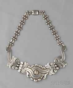"Mexican .990 Silver ""Maguey"" Necklace, Hector Aguilar, Taxco, designed as a stylized agave plant, approx. 3 troy oz., lg. 16 in., maker's mark."