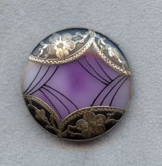 Antique Button - 1800's Fancy Purple Victorian Glass w/Ornate Metal Overlay