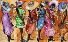 paintings of ladies in hats | Church Hats Painting by Janie McGee - Church Lady Church Hats Fine Art ...