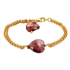 """Sterling Silver Italian Yellow Gold Plated Rolo with Purple Murano Glass Swirl Beads Bracelet, 7.5"""" >>> Check this awesome product by going to the link at the image."""