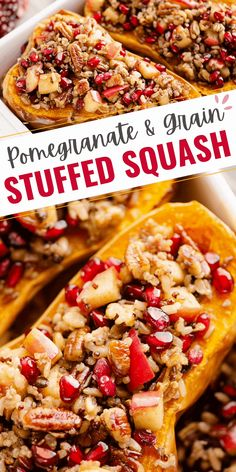 Stuffed Butternut Squash with Apples, Pomegranates & Grains is a healthy holiday side dish or wholesome vegan recipe that is packed with flavors and textures that you will adore! #StuffedSquash #VeganRecipe #HealthyHolidayRecipe