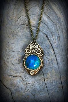 Peruvian Chrysocolla gemstone pendant  blue green by PeaceElements