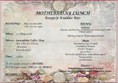 Lavendula: Our Mothers day menu. For your reservation, please contact us on 021 836 Biltong, Cheese Sauce, Caramelized Onions, Bread Baking, Coffee Shop, Mothers, Stuffed Mushrooms, Menu, Day