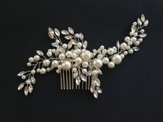 hand made wedding bridal hair comb, pearl ,glass rhinestone on Etsy, $34.90