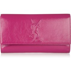 Yves Saint Laurent Belle de Jour Large patent-leather clutch ($645) ❤ liked on Polyvore featuring bags, handbags, clutches, bags/clutches, pink, purses, patent leather purse, purple purse, yves saint laurent handbags and pink handbags