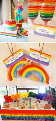 RAINBOW themed Treat Bar : Birthday Party via Karas Party Ideas KarasPartyIdeas.com #rainbow #themed #birthday #party #idea #ideas #cake #dessert #table #decor #supplies