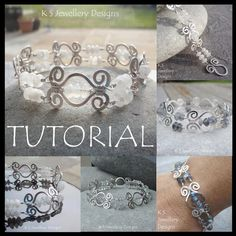 This step-by-step tutorial has detailed instructions pages, 112 steps with 112 close-up photographs) to show you how to create a beautiful HAMMERED SWIRL LINK BRACELET with a matching 'swirl clasp'. The lesson includes clear instructions on creat. Wire Wrapped Jewelry, Wire Jewelry, Jewelry Crafts, Jewelry Art, Beaded Jewelry, Jewelry Design, Handmade Jewelry, Jewellery, Handmade Wire