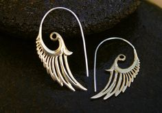 Feather Earrings  Brass and Sterling Silver by Zephyr9 on Etsy, $29.00