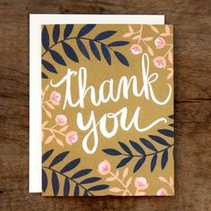 Thank You Fern Illustrated Card. $4.50, via Etsy. I'd like to try make cards similar to this