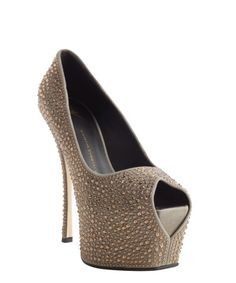Giuseppe Zanotti grey and brown 'Liza 90' studded platform pumps | BLUEFLY up to 70% off designer brands