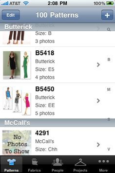 Sewing Kit - I love this mobile app. I have all of my fabric and patterns documented so I always know what I already own!