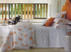 ORANGE CRUSH - Piquant paisley motifs traverse YVES DELORME'S crisp new SUDARE Collection, extending to piped damask sateen linens & delicately embroidered cotton & silk decorative pillows.