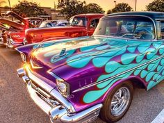 Killer kool color combo on this flamed '57 Chevy