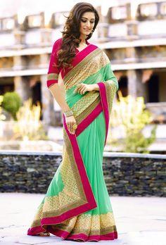 Tantalizing Tea Green Saree - Designer Fashion Sarees - Sarees - Women
