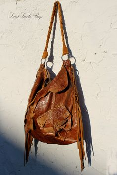 Large tribal rusted brick leather distressed by SweetSmokebags