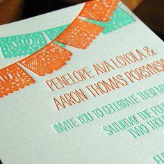 Papel Picado -  Letterpress Wedding Invitation Sample