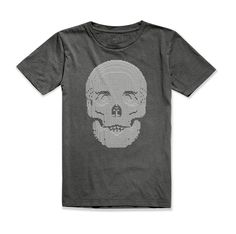 Skull by artist Nathan Sawaya. Benefiting Art Revolution Foundation.  Boys Short Sleeve Crew Dark Grey. www.artofcraft.com www.artrevolution.org