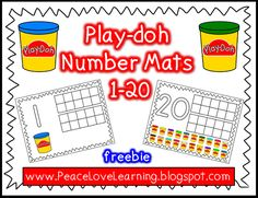 play-doh number building and counting ten frame mats - great for kindergarten math centers at start of year. Using these in my math bins next week