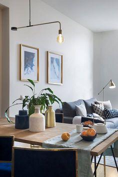 MAD City Rentals | Egue y Seta Open Plan Apartment, Apartment Living, Madrid Apartment, Open Plan Kitchen Living Room, Open Plan Living, Living Room Furniture, Living Room Decor, Dining Room, Dining Table
