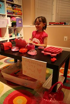 Valentine Store: include things that go along with the holiday like cards, candy containers, baking items, etc. Great idea for any holiday or season