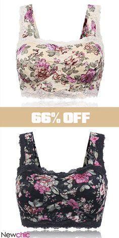 326e4dfcde  Only US 23.99 Sexy Floral Printing Lace Hem Bras Breathable Wireless Vest  Bra. flowerprinted  sexywomen