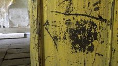 A bright yellow door, now scratched and marked. A painting in itself. House Foundation, Medieval Houses, Brecon Beacons, Yellow Doors, Listed Building, Bright Yellow, Wales, Vintage World Maps, Restoration