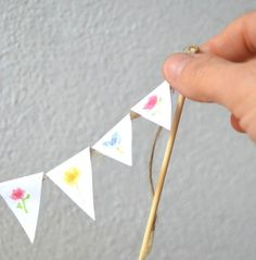 When is your next garden party?  Flower Cake Topper set of 10 flags country by BarraganPaintings, €6.00