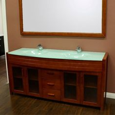 Combining The Warm Feel Of Oak Wood With Sparkling Elements Tempered Gl Waterfall Double Vanity Brings A Unique Look To Your Bathroom