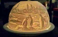 Bernardaud France Lithophane Votive Candle Holder Arctic Scene Penguins Retired #Bernardaud