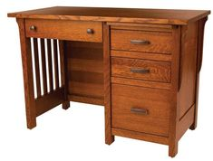 Amish Boston Student Desk - Quick Ship Solid oak desk available Quick Ship with build time of 2 to 3 weeks. Features file drawer, pencil drawer, two storage drawers and a writing pullout.