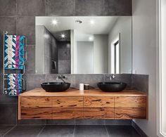 Image result for modern timber vanity open shelves