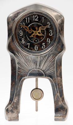Argentor-Werke, Rust & Hetzel, Vienna, Austria, table clock, circa 1900, pewter, silver, brass, H. 31.5 cm.