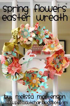 Grinalda DIY bonito para a Páscoa feito com flores de tecido